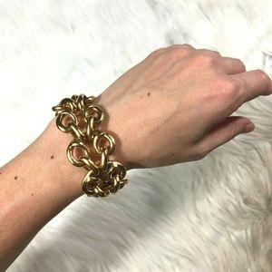 J.Crew Bold Gold Chunky Hammered Link Bracelet